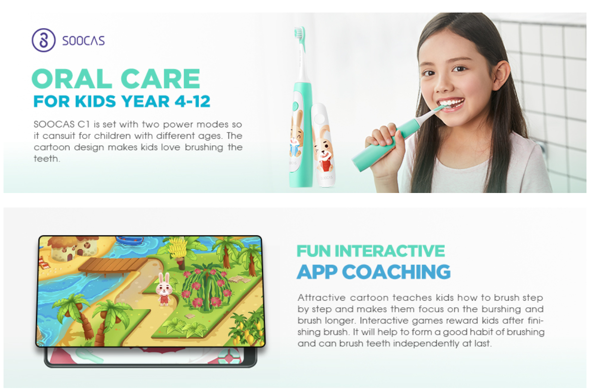 Soocas Sonic Electric Toothbrush for Kids Green Global