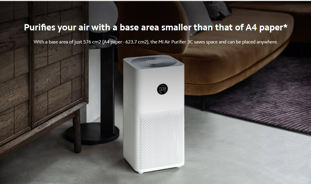 Xiaomi Mi Air Purifier 3C - White, WiFi Connection and Digital LED Display